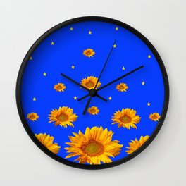 RAINING GOLDEN STARS YELLOW SUNFLOWERS BLUES Wall Clock
