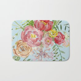 Bouquet of Watercolor on Blue Background Bath Mat