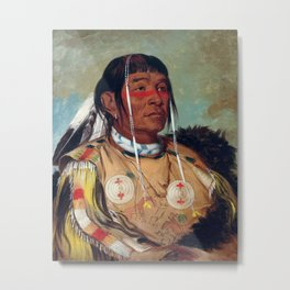 Sha-có-pay, The Six, Chief of the Plains Ojibwa by George Catlin Metal Print