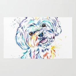 Havanese Colorful Watercolor Pet Portrait Painting Rug
