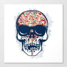 Dead Skull Zombie with Brain Canvas Print