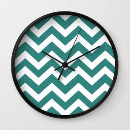 Celadon green - green color -  Zigzag Chevron Pattern Wall Clock