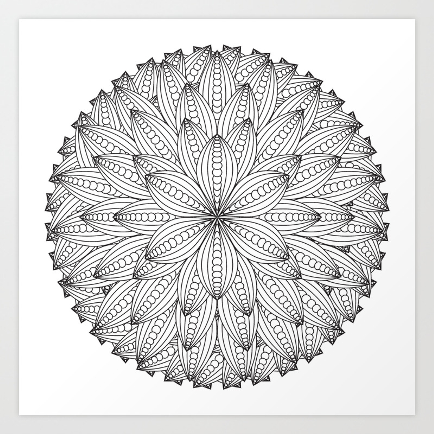 Geometric Flower Mandala Color Your Own Art Print By