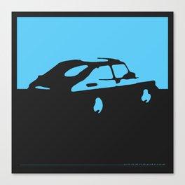 Saab 900 classic, Light Blue on Black Canvas Print