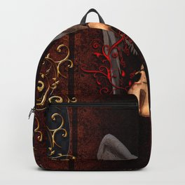 Violin with bow and clef Backpack