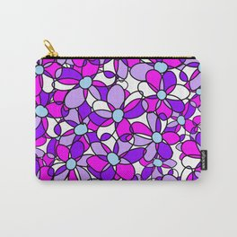 Colorful Dynamic Whimsical Floral Pattern Carry-All Pouch