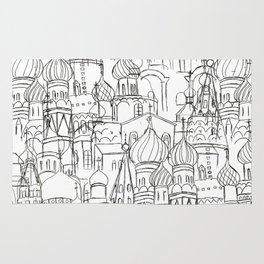 Russian cathedral church line drawing Rug