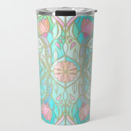 Floral Moroccan in Spring Pastels - Aqua, Pink, Mint & Peach Travel Mug
