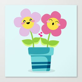 Kawaii Spring lovers Canvas Print