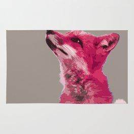 FOX, PINK FOX, PINK FOX WALL ART, CUTE FOX, FOX FACE, FOX IN PINK, WINTER FOX, Rug