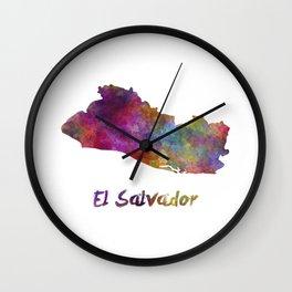 El Salvador in watercolor Wall Clock