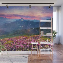 Blooming mountains Wall Mural