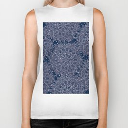 Modern navy blue blush pink watercolor floral mandala Biker Tank