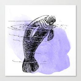 Purple Manatee Canvas Print