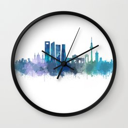 Madrid Spain city skyline watercolor art v03b UHD Wall Clock