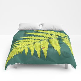 From the forest - lime green on teal Comforters
