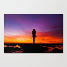 SUNRISE - SUNSET - WOMAN - BLACK - PHOTOGRAPHY Canvas Print