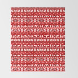 Pugs Christmas Sweater Pattern Throw Blanket