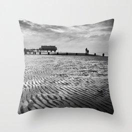 Couple on Cleethorpes Beach Throw Pillow