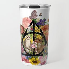 Floral Deathly Hallows Owl and Stag - Black Travel Mug