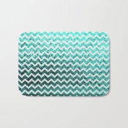 Glitter Sparkly Bling Chevron Pattern (aqua) Bath Mat