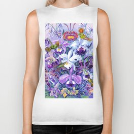 Orchids & Hummingbirds Biker Tank