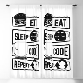 Eat Sleep Code Repeat - Computer Programmer CLI Blackout Curtain