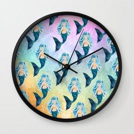 Rainbow Mermaid Bubbles Wall Clock