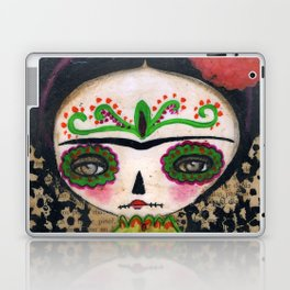 Frida The Catrina And The Devil - Dia De Los Muertos Mixed Media Art Laptop & iPad Skin