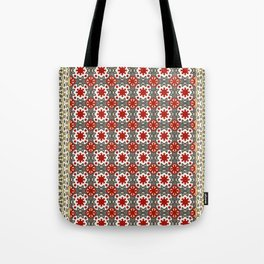 V12 Red Traditional Moroccan Rug Pattern. Tote Bag