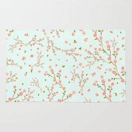 little cherry blossom pattern on mint green Rug