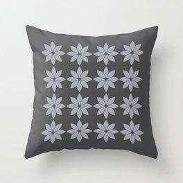 Minimalist Flowers Pattern (Charcoal Black, Dove Grey) Throw Pillow