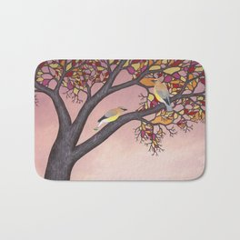 cedar waxwings on the stained glass tree Bath Mat