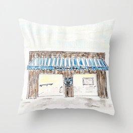 Britt's Donut Shop, Carolina Beach, NC, watercolor Throw Pillow