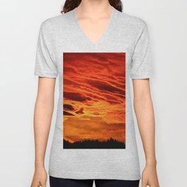 Flame Coloured Sunset Sky Unisex V-Neck