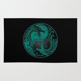 Teal Blue and Black Yin Yang Dragons Rug