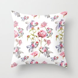 Blush Pink Peony Flowers with Fish Design Throw Pillow