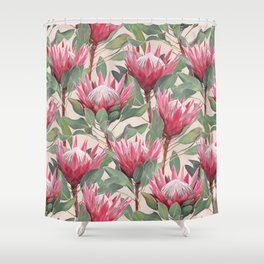 Painted King Proteas on cream Shower Curtain
