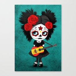 Day of the Dead Girl Playing Spanish Flag Guitar Canvas Print