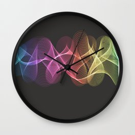 Rainbow Soundwaves Wall Clock