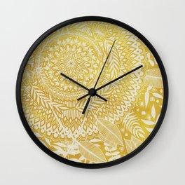 Medallion Pattern in Mustard and Cream Wall Clock