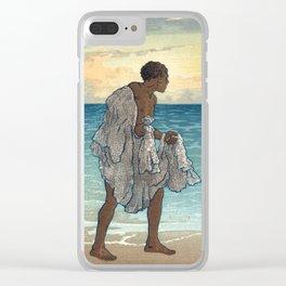 Hawaiian Fisherman Woodcut, 1920s Clear iPhone Case