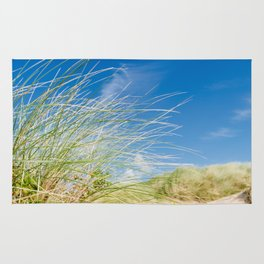 Vibrant Sand dune grasses against blue sky, Fistral Beach Rug