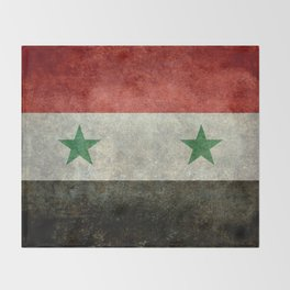 Syrian national flag, vintage Throw Blanket