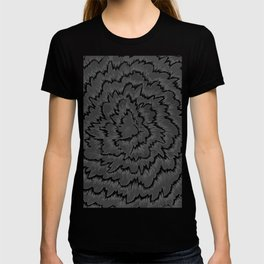 Foral waves in black and white T-shirt