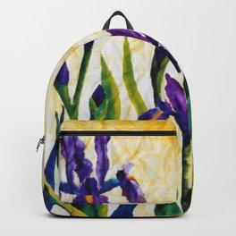 Watercolor Wild Iris on Wrinkled Paper Backpack