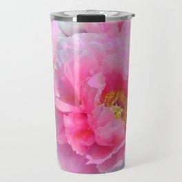 PINK & WHITE PEONY GARDEN FLOWER Travel Mug