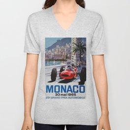 Grand Prix Monaco, 1965, vintage poster, race poster Unisex V-Neck