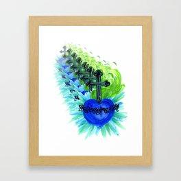 Sacred Heart, blue Framed Art Print