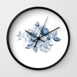 Blue and White Rose Bouquet Wall Clock